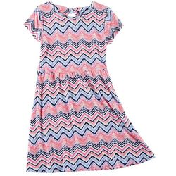 Green Soda Little Girls Chevron Print Cap Sleeve Dress