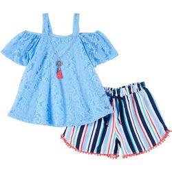 RMLA Big Girls 2-pc. Lace Off Shoulder Tee & Shorts Set