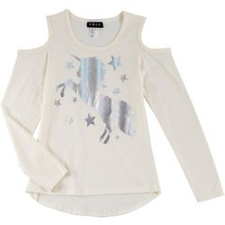 RMLA Big Girls Foil Unicorn Cold Shoulder Top