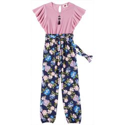 RMLA Big Girls Floral Flutter Sleeve Jumpsuit &