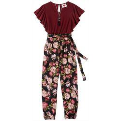 RMLA Big Girls Floral Flutter Sleeve Jumpsuit & Necklace