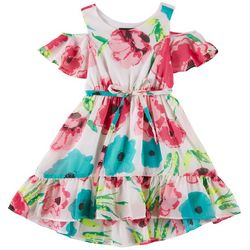 RMLA Big Girls Floral Print Cold Shoulder Dress