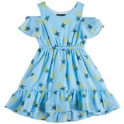 RMLA Big Girls Pineapple Print Cold Shoulder Dress