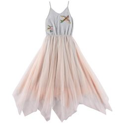 RMLA Big Girls Embroidered Birds Tulle Overlay Dress
