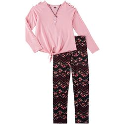 RMLA Big Girls 3-pc. Floral Chevron Leggings & Necklace Set