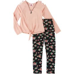 RMLA Big Girls 3-pc. Floral Leggings & Necklace Set