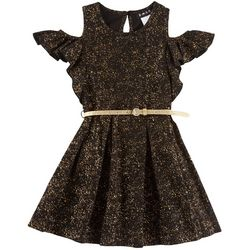 RMLA Big Girls Shimmery Cold Shoulder Dress With Belt