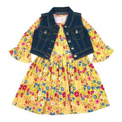 Nannette Big Girls Floral Print & Denim Vest Dress