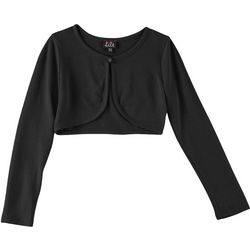 Lilt Big Girls Solid Open Front Long Sleeve