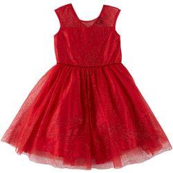 Zunie Big Girls Glitter Illusion Neck Tulle Dress