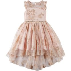 Zunie Big Girls Glitter Floral High-Low Tulle Dress