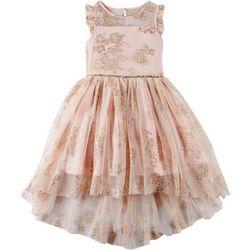 Zunie Big Girls Glitter Floral High-Low Tulle Dress