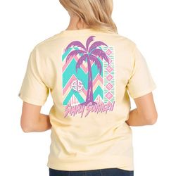 Simply Southern Big Girls Palm Tree Chevron Logo T-Shirt