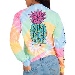 Simply Southern Big Girls Tie Dye Pineapple Long Sleeve Top