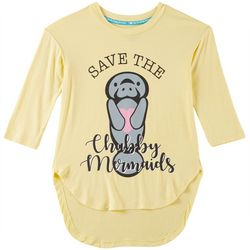 Chubby Mermaids Big Girls Save Mermaids Quarter Sleeve Top