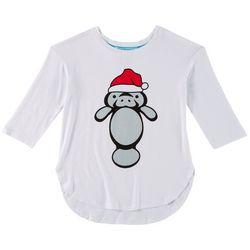 Chubby Mermaids Big Girls Santa Hat T-Shirt