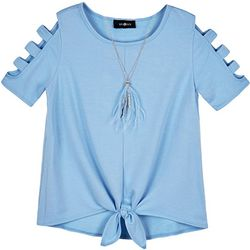 Amy Byer Big Girls Short Cage Sleeve Tie Front Top