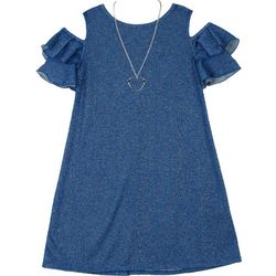 Amy Byer Big Girls Heathered Ruffle Cold Shoulder Dress