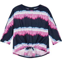 Amy Byer Big Girls Stripe Tie Dye Top