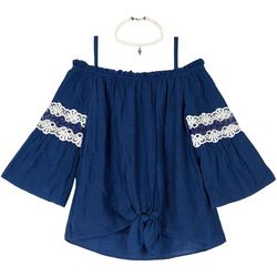 Amy Byer Big Girls Off The Shoulder Lace Top