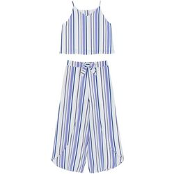 Amy Byer Big Girls 2-pc. Stripe Top And Wide Pant Set