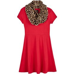 Amy Byer Big Girls Leopard Print Scarf Sweater Dress