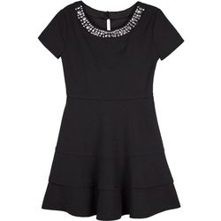 Amy Byer Big Girls Solid Jewel Neck Tiered