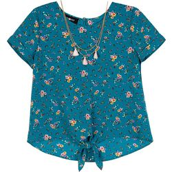 Amy Byer Big Girls Floral Print Tie Front Top