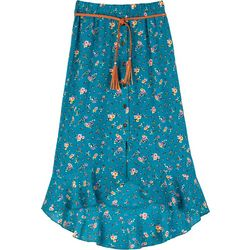 Amy Byer Big Girls Floral Print Button Down Ruffle Skirt