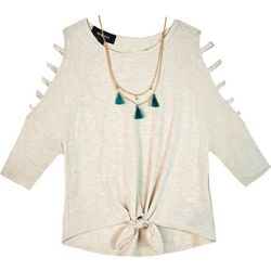 Amy Byer Big Girls Solid Cage Sleeve Tie Front Top