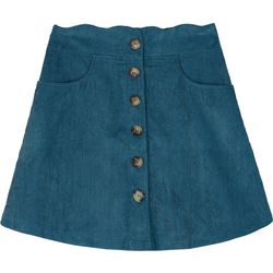 Amy Byer Big Girls Solid Button Corduroy Skirt