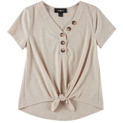 Amy Byer Big Girls Button Neckline Tie Front Top