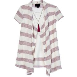 Amy Byer Big Girls 3-pc. Striped Drape Front Cardigan Set