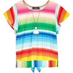 Amy Byer Big Girls Striped Tie Back Short Sleeve Top