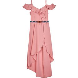 Amy Byer Big Girls Belted Solid Ruffle Neckline Dress