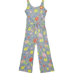Amy Byer Big Girls Floral Stripe Tie Waist Jumpsuit