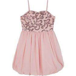 Amy Byer Big Girls Sequin Embellished Bubble Hem Dress