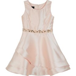 Amy Byer Big Girls Solid Satin Belted Dress