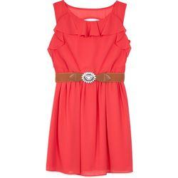 Amy Byer Big Girls Ruffle Belted Sleeveless Dress