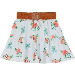 Amy Byer Big Girls Floral Print Belted Tiered Skirt
