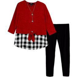 Amy Byer Big Girls 2-pc. Gingham Tie Front Leggings Set