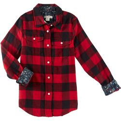 Tailor Vintage Big Girls Buffalo Plaid Flannel Shirt