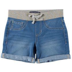Vanilla Star Big Girls Glitter Knit Waist Denim Midi Shorts