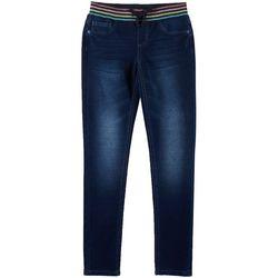 Vanilla Star Big Girls Striped Rib Waist Denim Jeans