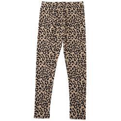 Poof Big Girls Leopard Print Basic Leggings