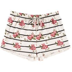 Poof Big Girls Floral Stripe Print Shorts