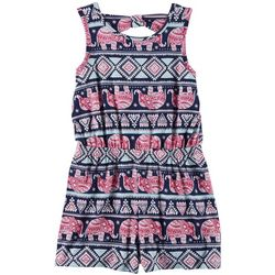 Poof Big Girls Elephant Print Sleeveless Romper