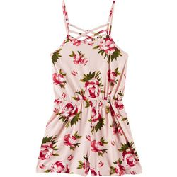 Poof Big Girls Floral Sleeveless Romper