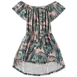 Poof Big Girls Tropical Palms Walk Through Romper