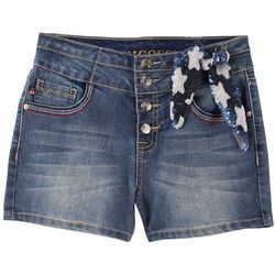 Vigoss Big Girls 5-Button Sequin Tie Denim Shorts